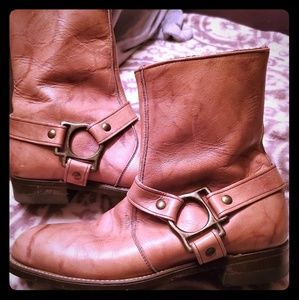 Vintage Leather Moto Boots